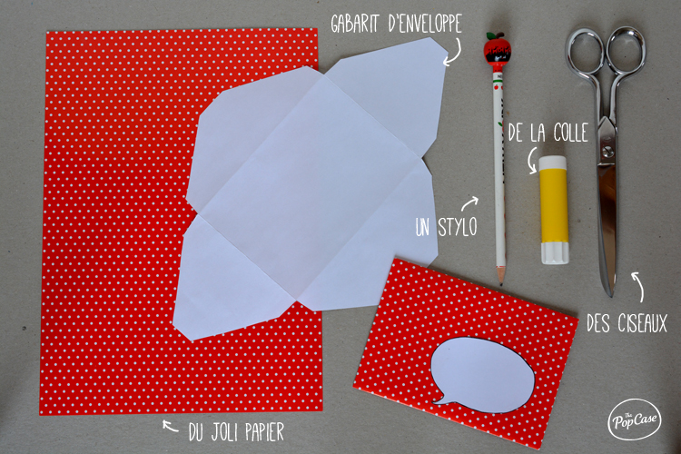 Materiel pour une enveloppe personnalisée