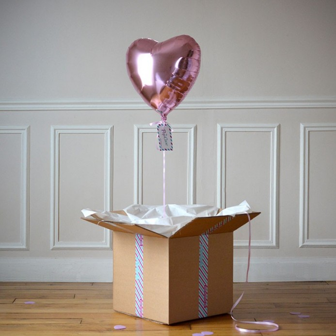 Ballon Cadeau Coeur Rose Pastel - The PopCase