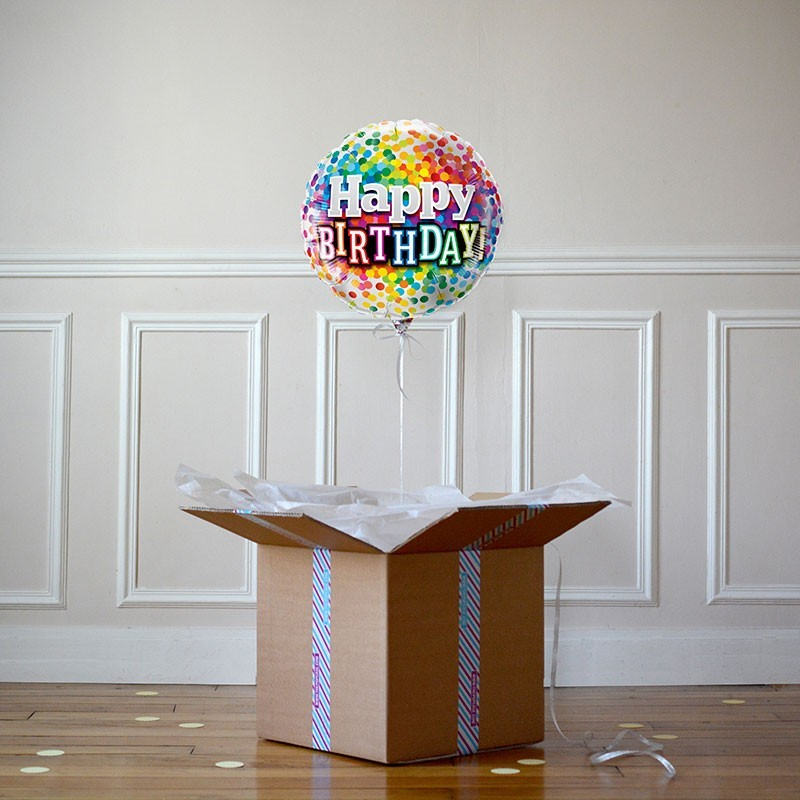 Ballon Cadeau - Happy Birthday RAINBOW