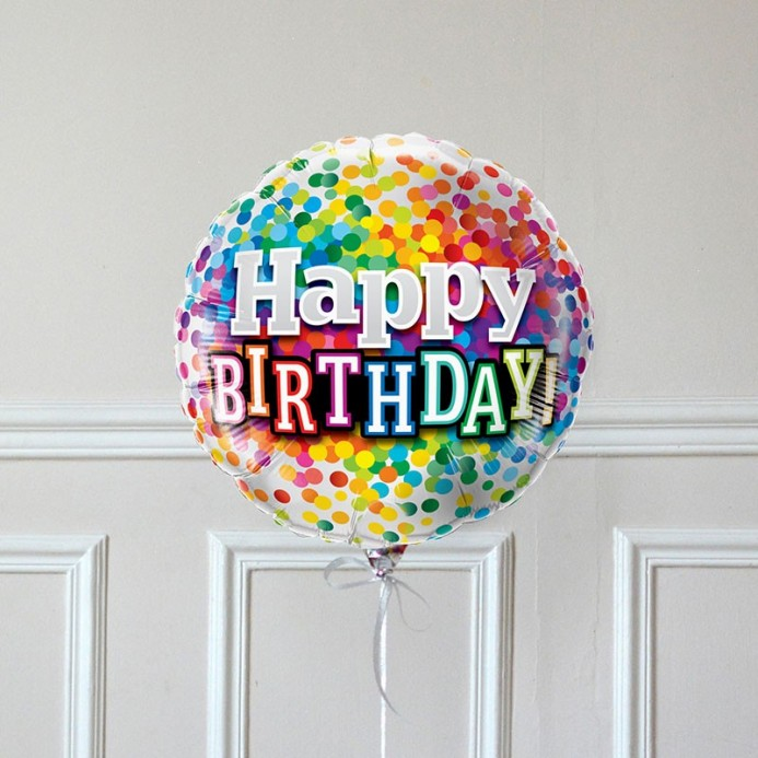 Ballon Cadeau Happy Birthday Confetti - The PopCase