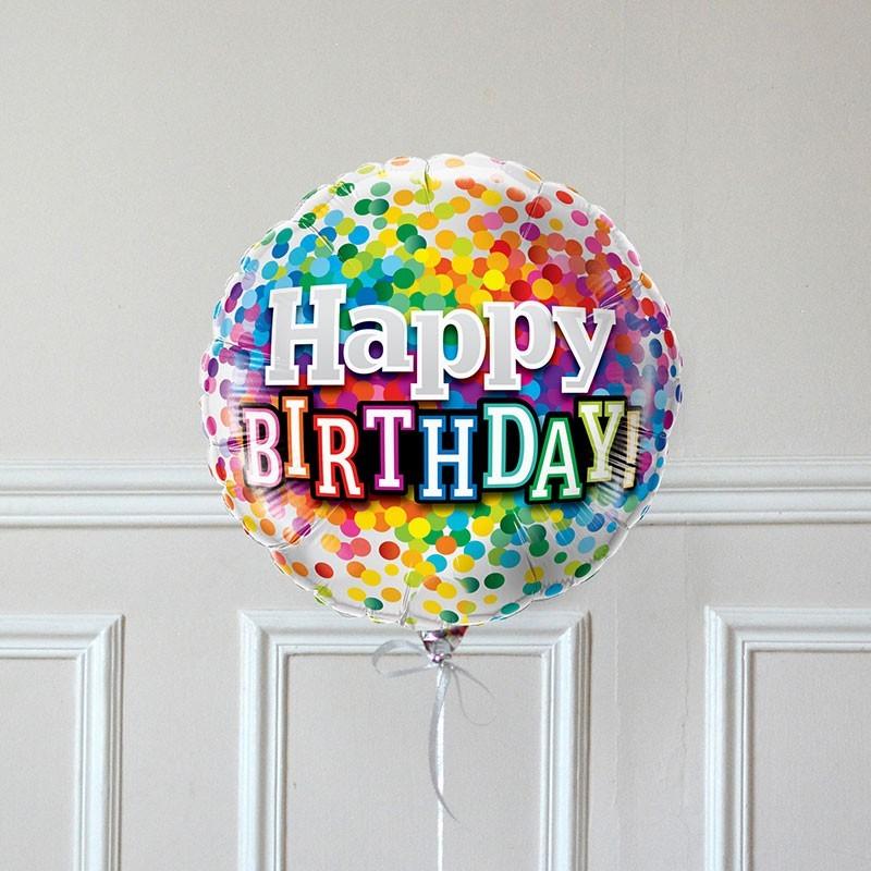 Ballon Cadeau Happy Birthday Confetti - GP - The PopCase