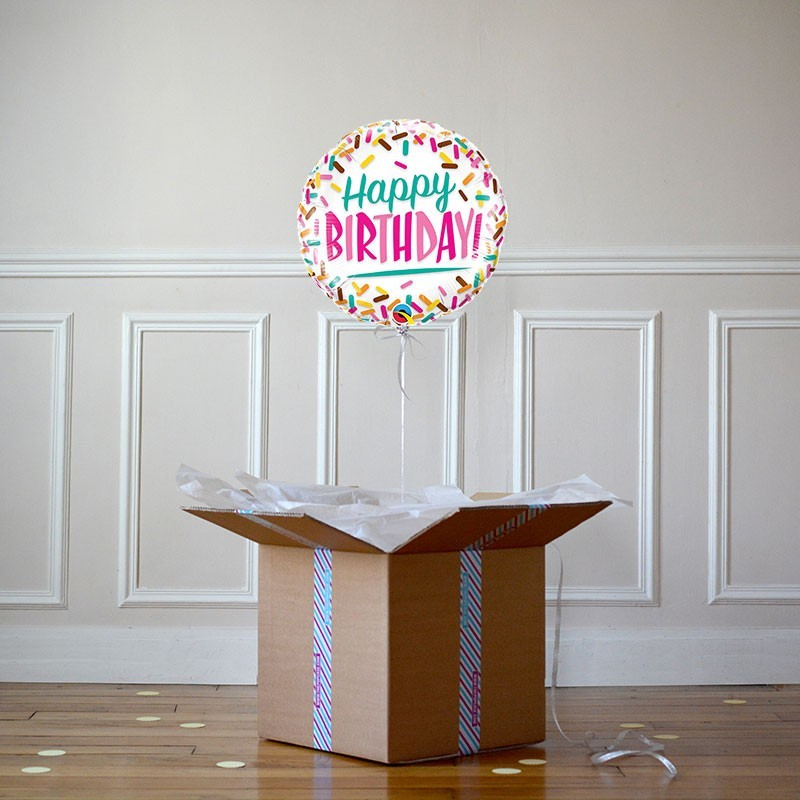Ballon Cadeau Happy Birthday sprinkles - The PopCase
