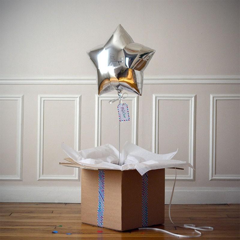 Ballon Cadeau Etoile Argent - The PopCase