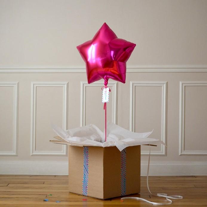 Ballon Cadeau Etoile Rose Fuschia - The PopCase
