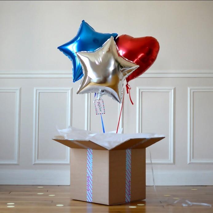 Bouquet Ballon Cadeau Bleu Blan Rouge - The PopCase