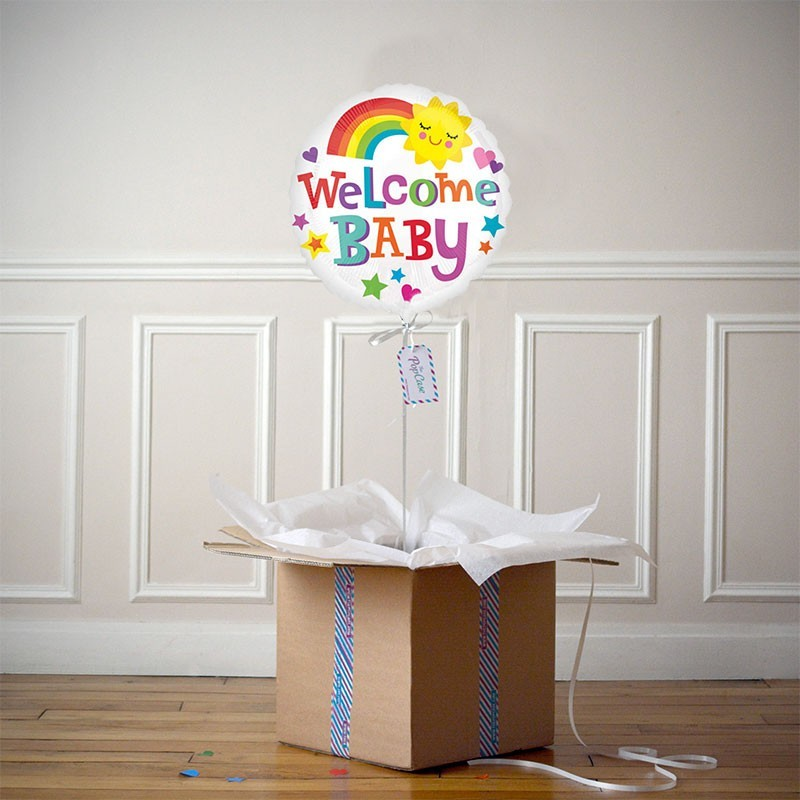 Ballon Cadeau - Welcome Baby Rainbow