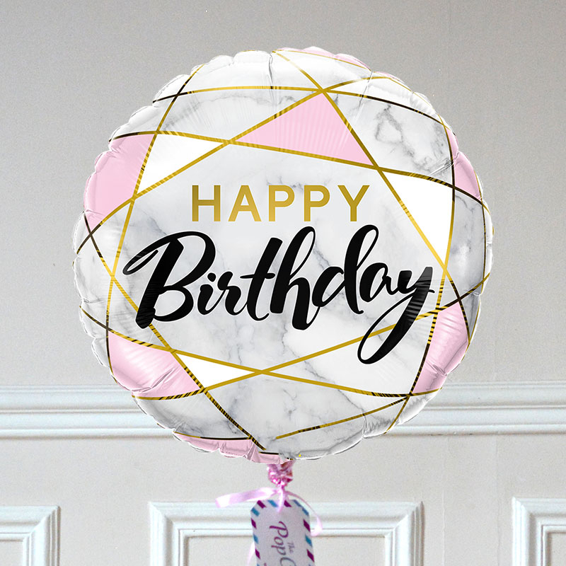 Ballon Cadeau - Happy Birthday - Marbre