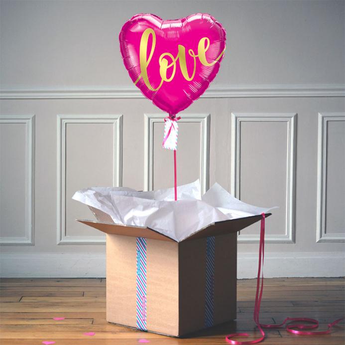 Ballon Cadeau - Coeur Love Rose - The PopCase