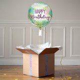 Ballon Cadeau - Happy Birthday Feuilles - The PopCase