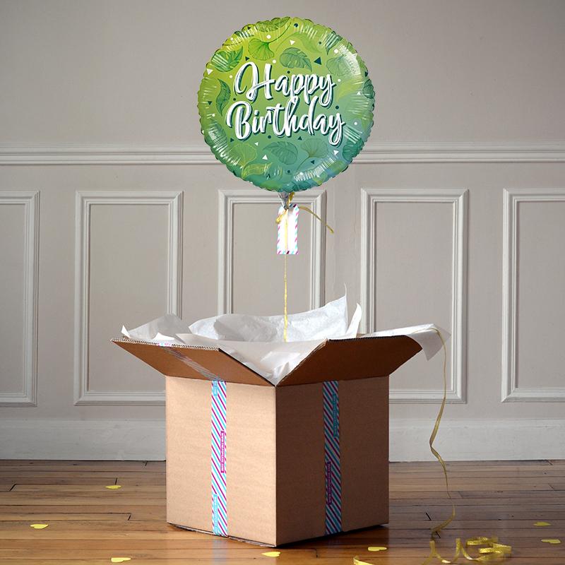 Ballon Cadeau - Happy Birthday Green - The PopCase