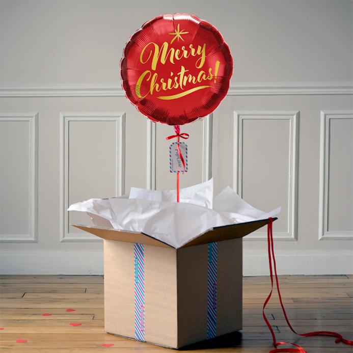 Ballon Cadeau - Merry Christmas Rouge - The PopCase