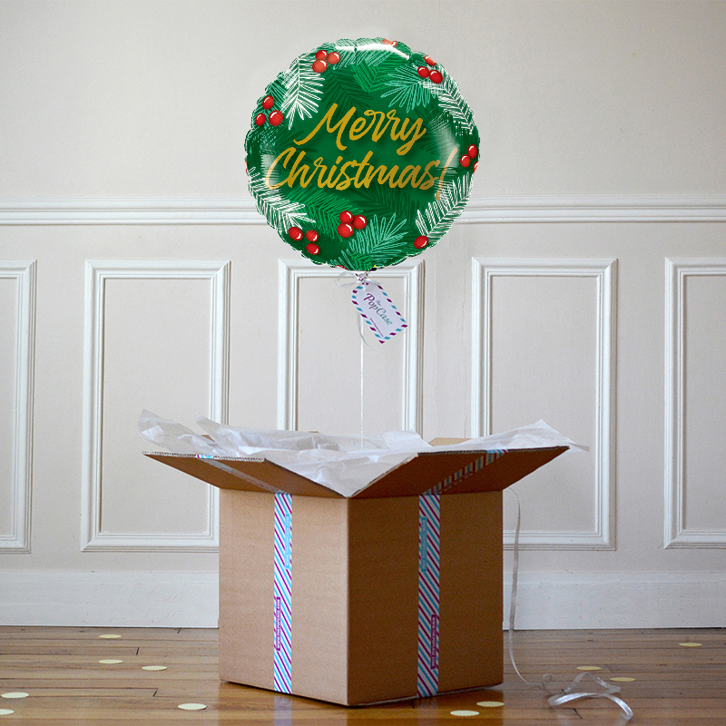 Ballon Cadeau - Merry Christmas Vert - The PopCase