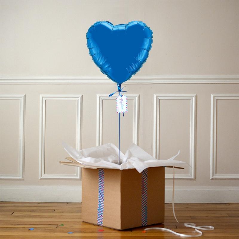 Ballon Cadeau - Coeur bleu