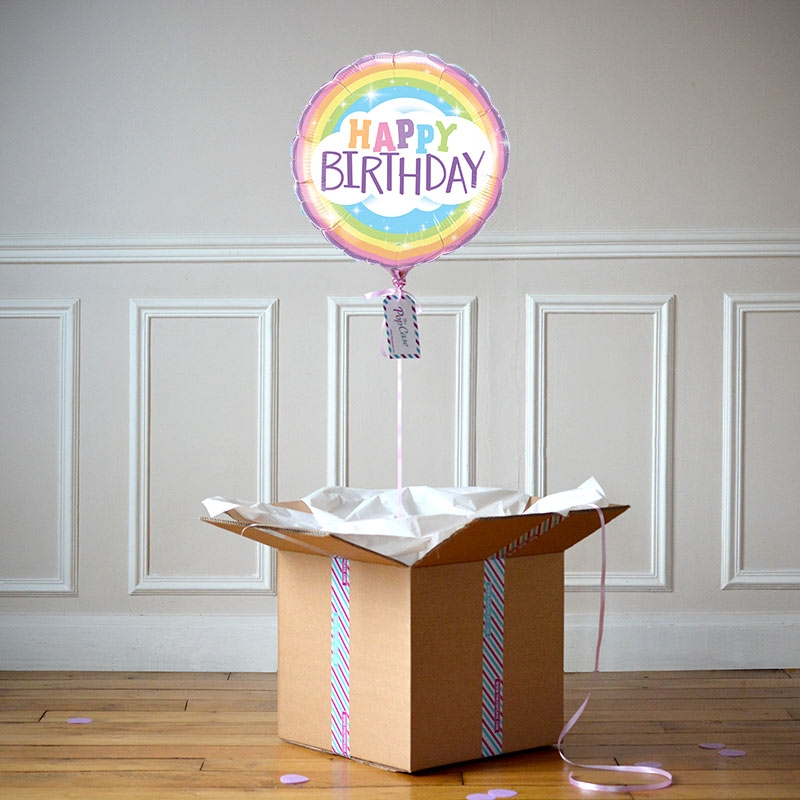 Ballon Cadeau Happy Birthday Rainbow - The PopCase