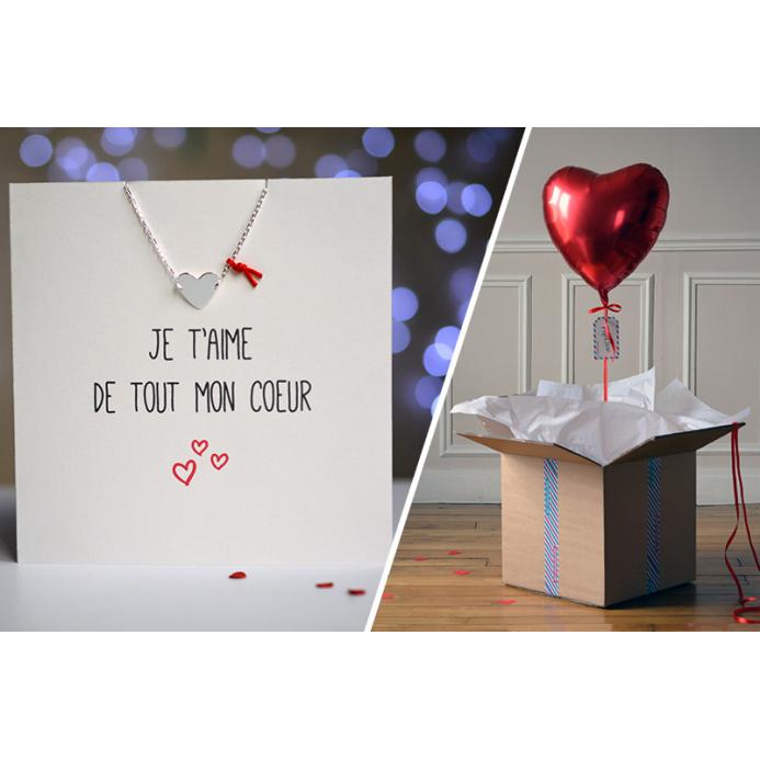 Combo Carte Coeur + Ballon Coeur Rouge