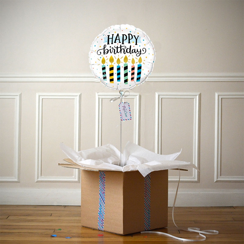 Ballon Cadeau - Happy Birthday Bougies