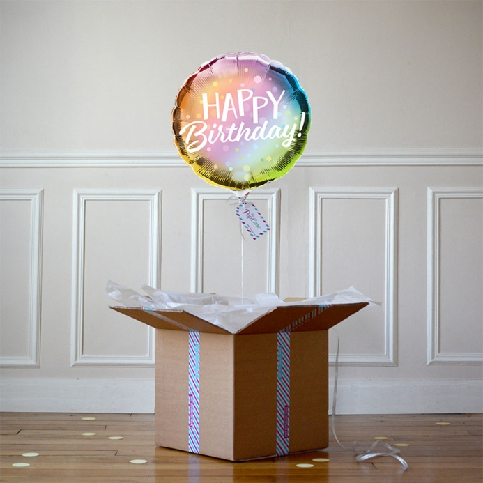 Ballon Cadeau Happy Birthday Irisée - The Pop Case