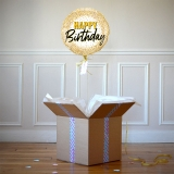 Ballon Cadeau Happy Birthday Doré - The Pop Case
