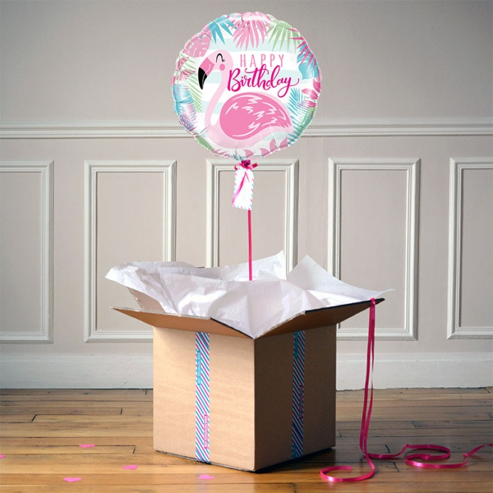 Ballon Cadeau - Happy Birthday Flamingo - The PopCase