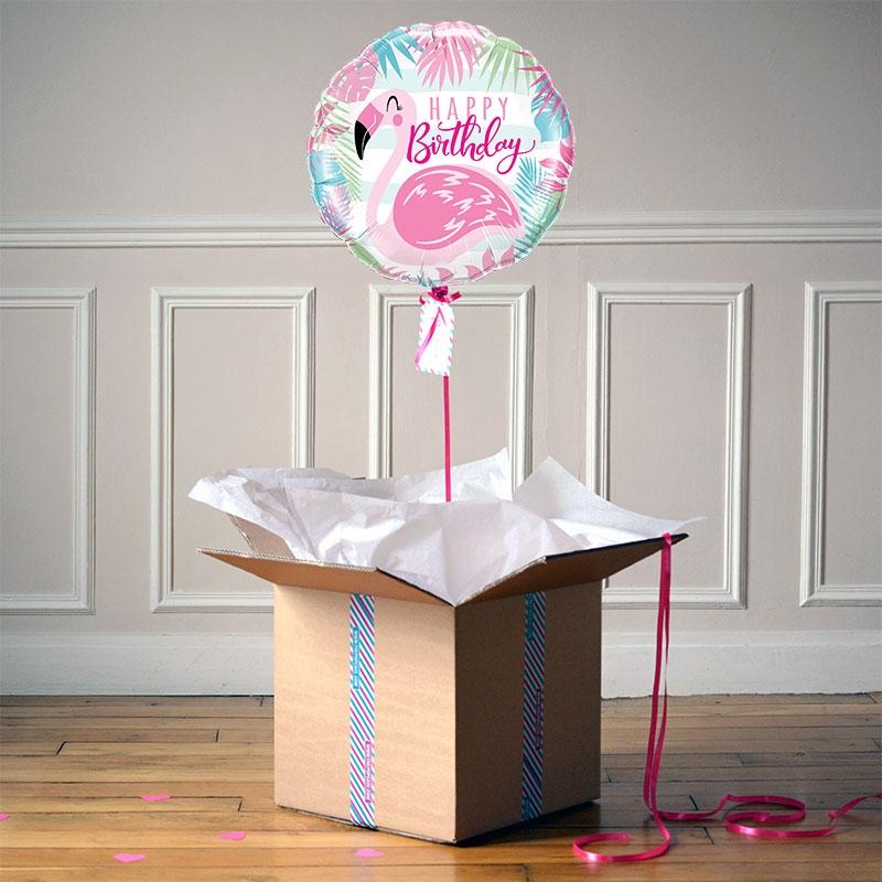 Ballon Cadeau - Happy Birthday Flamingo - The PopCase