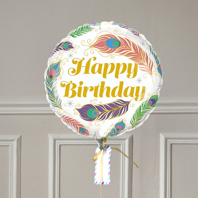 Ballon Cadeau Happy Birthday Plume - The PopCase