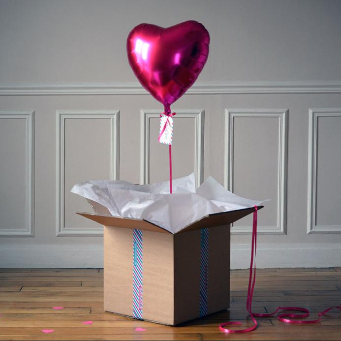 Ballon Cadeau Coeur Octobre Rose Fuschia - The PopCase
