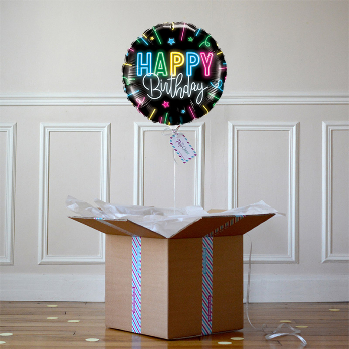 Ballon Cadeau - Happy Birthday Néon