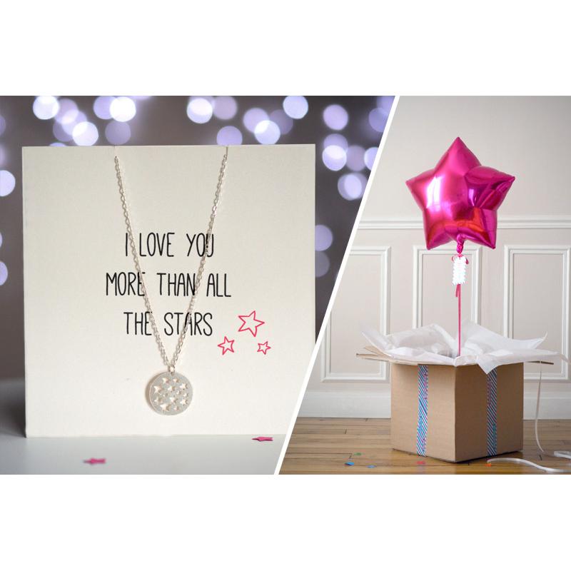 Combo Carte Etoile + Ballon Etoile Rose