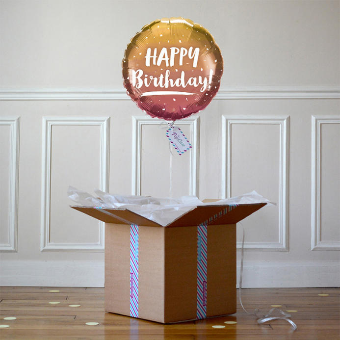 Ballon Cadeau - Happy Birthday Cuivré - The PopCase