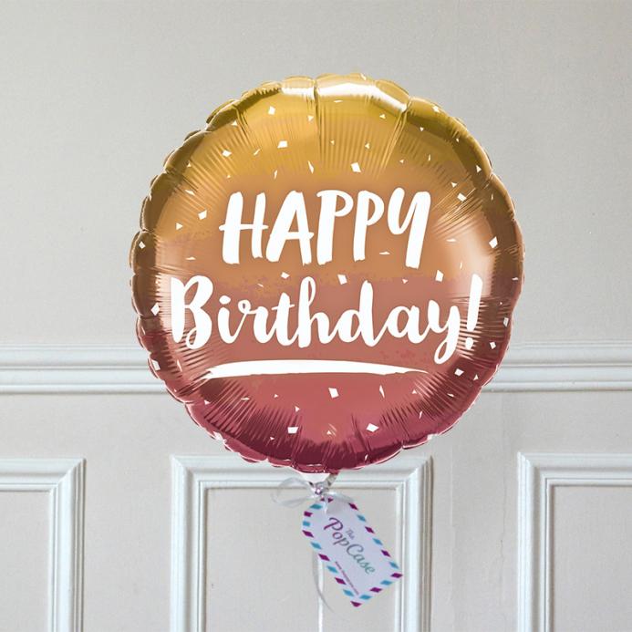 Ballon Cadeau - Happy Birthday Cuivré - The PopCase