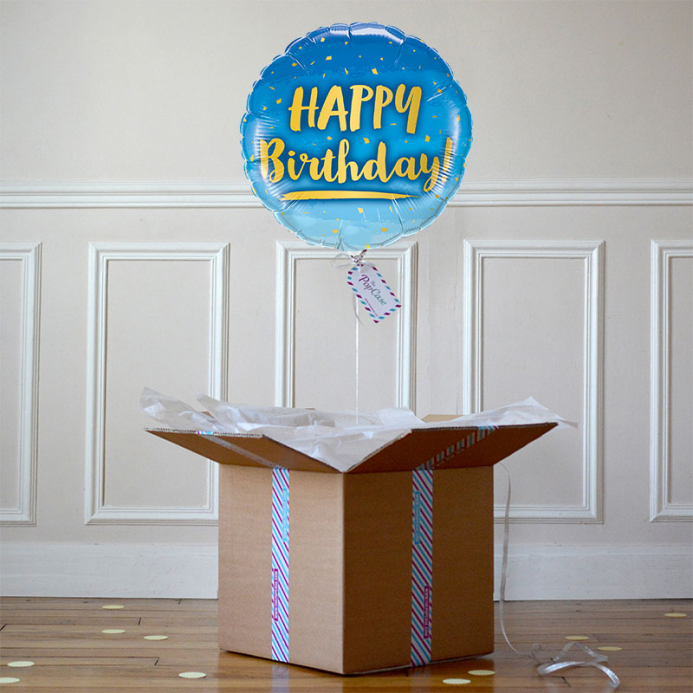 Ballon Cadeau - Happy Birthday - Bleu