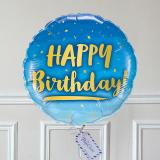 Ballon Cadeau - Happy Birthday - Bleu