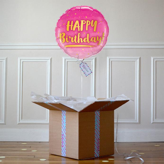 Ballon Cadeau - Happy Birthday - Rose