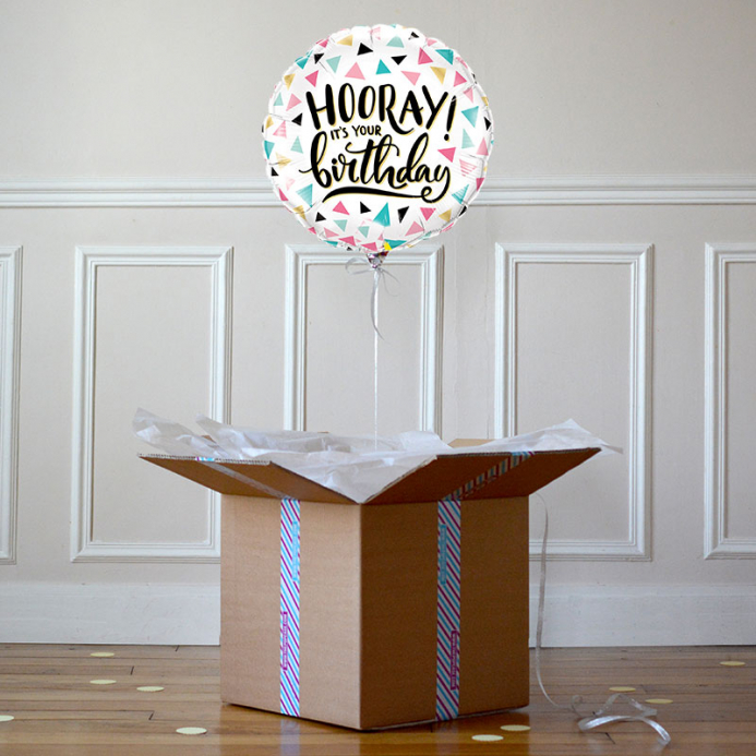 Ballon Cadeau - Happy Birthday Hooray